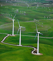 aerial photograph above,Shilo Wind Power Plant Solano County California