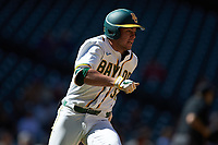 Esteban Cardoza-Oquendo (52) of the Baylor Bears hustles down the first base line against the Missouri Tigers in game one of the 2020 Shriners Hospitals for Children College Classic at Minute Maid Park on February 28, 2020 in Houston, Texas. The Bears defeated the Tigers 4-2. (Brian Westerholt/Four Seam Images)