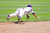 Eric Stamets (8) of the Evansville Purple Aces dives for a line drive to short during a game against the Indiana State Sycamores in the 2012 Missouri Valley Conference Championship Tournament at Hammons Field on May 23, 2012 in Springfield, Missouri. (David Welker/Four Seam Images).
