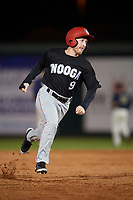 Chattanooga Lookouts center fielder Tanner English (9) runs the bases during a game against the Mobile BayBears on May 5, 2018 at Hank Aaron Stadium in Mobile, Alabama.  Chattanooga defeated Mobile 11-5.  (Mike Janes/Four Seam Images)