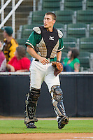 Greensboro Grasshoppers catcher Mike Vaughn (27) on defense against the Kannapolis Intimidators at CMC-Northeast Stadium on July 13, 2013 in Kannapolis, North Carolina.  The Intimidators wore throwback jerseys of the Piedmont Boll Weevils, who played in Kannapolis from 1996-2000.   (Brian Westerholt/Four Seam Images)