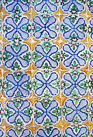 Ceramics, Tunis Medina, Tunisia.  Nabeul Tiles in Wall Panel of House in the Medina.