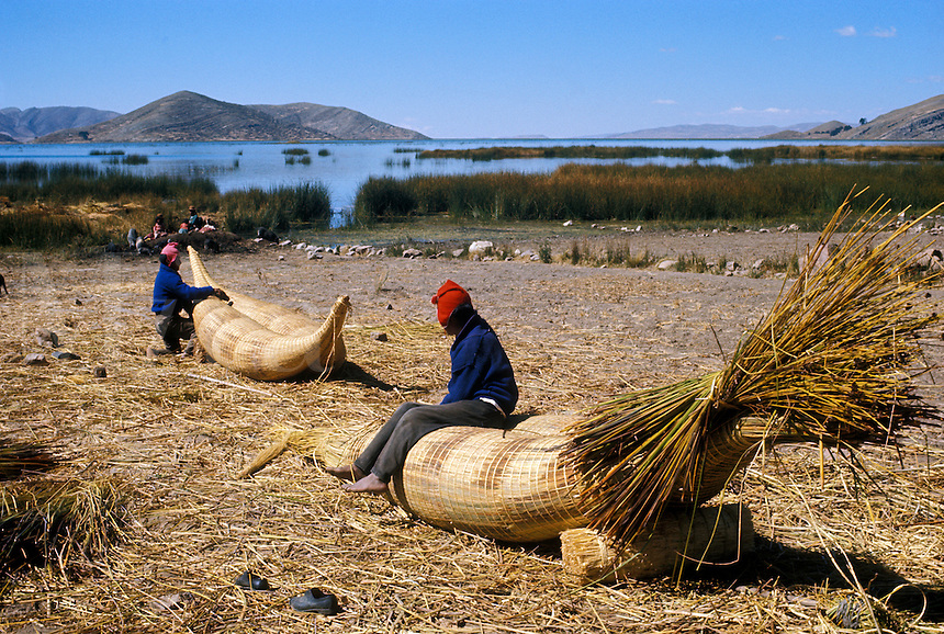 Aymara Indian fishermen making reed rafts called  balsa de totora, on Suriqui Island, Lake Titicaca, Bolivi