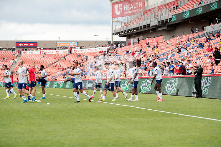 SANDY, UT - JUNE 10: The United States Men warming up before a game between Costa Rica and USMNT at Rio Tinto Stadium on June 10, 2021 in Sandy, Utah.