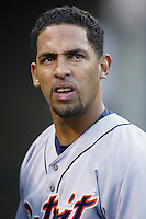 Hiram Bocachica of the Detroit Tigers during a 2002 MLB season game against the Los Angeles Angels at Angel Stadium, in Anaheim, California. (Larry Goren/Four Seam Images)