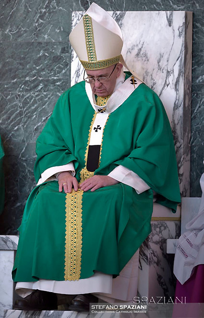 Pope Francis during a pastoral visit the parish of Santa Maria Josefa del Cuore di Gesu at Castelverde, on the outskirts of Rome,  on February 19, 2017.