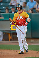Taylor Ward (3) of the Salt Lake Bees at bat against the Oklahoma City Dodgers at Smith's Ballpark on August 1, 2019 in Salt Lake City, Utah. The Bees defeated the Dodgers 14-4. (Stephen Smith/Four Seam Images)