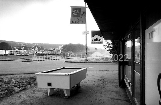 Vinne, Slovakia Republic.July 1997.A pool table at sunrise in a vacation resort area of eastern Slovakia..