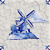 Windmill Delft, a hand-cut cut jewel glass mosaic, shown in  Opal Sea Glass™ with jewel glass Lapis Lazuli, Iolite, and Covelite, is part of the Sea Glass™ Collection by New Ravenna.