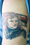 Napoleon Bonaparte tattoe on mans arm.   Venice Italy 2009.