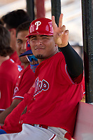Philadelphia Phillies Oscar Gonzalez (7) during an Extended Spring Training game against the Toronto Blue Jays on June 12, 2021 at the Carpenter Complex in Clearwater, Florida. (Mike Janes/Four Seam Images)
