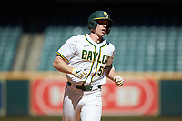 Mack Mueller (50) of the Baylor Bears rounds the bases after hitting his second home run of the game against the Missouri Tigers in game one of the 2020 Shriners Hospitals for Children College Classic at Minute Maid Park on February 28, 2020 in Houston, Texas. The Bears defeated the Tigers 4-2. (Brian Westerholt/Four Seam Images)