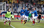 Junior Ogen celebrates after scoring his second goal of the night for Rangers