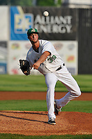 Blake Holovach #39 of the Clinton LumberKings pitches against the South Bend Sliver Hawks at Ashford University Field on July 26, 2014 in Clinton, Iowa. The Sliver Hawks won 2-0.   (Dennis Hubbard/Four Seam Images)