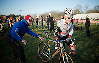 Mathieu Van der Poel (NLD/BKCP-Powerplus) getting a clean (brand new Stevens) bike<br /> <br /> CX Leuven Soudal Classic 2015
