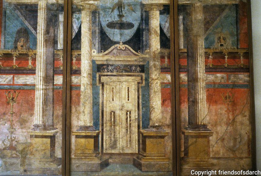 Italy: Pompeii--National Museum. Doorway, Pompeian Villa Fresco in 2nd Pompeian style, c. 50 B.C.
