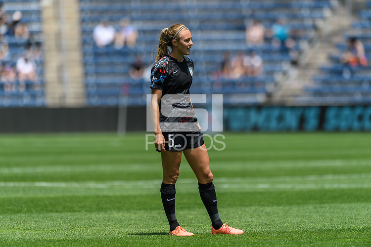 BRIDGEVIEW, IL - JUNE 5: Rachel Hill #5 of the Chicago Red Stars looks on during a game between North Carolina Courage and Chicago Red Stars at SeatGeek Stadium on June 5, 2021 in Bridgeview, Illinois.