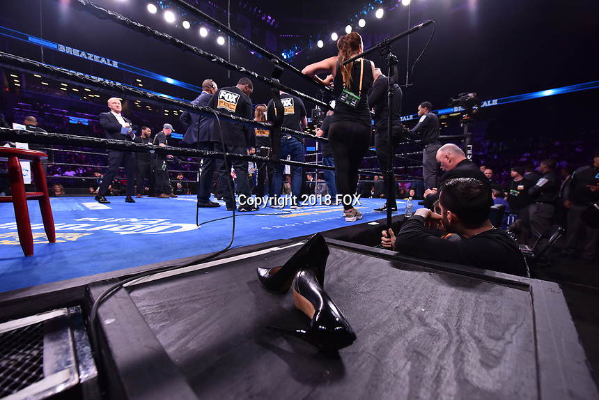 """BROOKLYN, NY - DECEMBER 22:  Heidi Androl shoes sit ring side to protect the matt as she interviews boxers during the Fox Sports and Premier Boxing Champions  December 22 """"PBC on Fox"""" Fight Night at the Barclays Center on December 22, 2018 in Brooklyn, New York. (Photo by Anthony Behar/Fox Sports/PictureGroup)"""