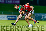 Shane Cronin, East Kerry in action against David Clifford, East Kerry during the Kerry County Senior Football Championship Final match between East Kerry and Mid Kerry at Austin Stack Park in Tralee on Saturday night.