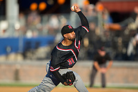 New Jersey Jackals starting pitcher Andres Caceres (31) in action against the Sussex County Miners at Skylands Stadium on July 29, 2017 in Augusta, New Jersey.  The Miners defeated the Jackals 7-0.  (Brian Westerholt/Four Seam Images)