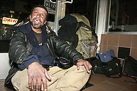 """21 January 2008.  Ocean Beach, San Diego, CA:  Frank Montoya, 47, aka """"Cisco"""" is seen sitting in the entrance of a store on Newport Avenue in Ocean Beach, San Diego California.  Police have identified Montoya and another man, Damian Maple, 21 as the suspects who allegedly beat a 26-year-old Australian tourist with a skateboard, leaving him unconscious in a fire ring on Abbot Street in Ocean Beach on Wednesday, Feb. 27 at about 5:20 a.m.  The story was featured on the Saturday March 29 edition of the FOX Television Show, America's Most Wanted.  The victim, Robert Schneider, 26, is recovering in a local hospital.."""