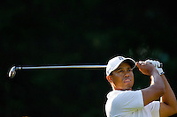 PGA golfer Tiger Woods watches his tee shot during the 2007 Wachovia Championships at Quail Hollow Country Club in Charlotte, NC.