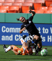 Washington Freedom forward  Lisa De Vanna (17) is taken down in a collision with Sky Blue defender Keeley Dowling (17).  Washington Freedom defeated Sky Blue FC 2-1 at RFK Stadium, Saturday May 23, 2009.