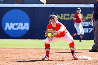GREENSBORO, NC - FEBRUARY 22: Lacey Olaff #14 of Fairfield University makes a put out at first base during a game between Fairfield and North Carolina at UNCG Softball Stadium on February 22, 2020 in Greensboro, North Carolina.