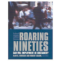 THE ROARING NINETIES: Can Full Employment Be Sustained?  Alan B. Krueger and Robert Solow, Editors<br /> <br /> Hardcover First Edition<br /> Published January 2002<br /> The Russell Sage Foundation<br /> New York, NY<br /> <br /> Photo of Commuters in New York City during Rush Hour available from Getty Images.  Please go to www.gettyimages.com and search for image # 10049886.