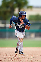 GCL Rays shortstop Kevin Santiago (4) running the bases during the second game of a doubleheader against the GCL Red Sox on August 9, 2016 at JetBlue Park in Fort Myers, Florida.  GCL Rays defeated GCL Red Sox 9-1.  (Mike Janes/Four Seam Images)