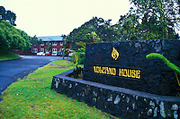 The  entrance to the Volcano House Hotel located along Crater Rim Drive. The hotel overlooks the Kilauea Caldera in Volcanoes National Park, Hawaii.