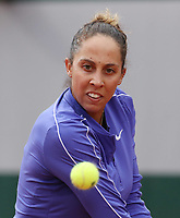 28th September 2020, Roland Garros, Paris, France; French Open tennis, Roland Garros 2020;  Madison Keys of the United States returns a shot during  womens singles first round match against Zhang Shuai of China