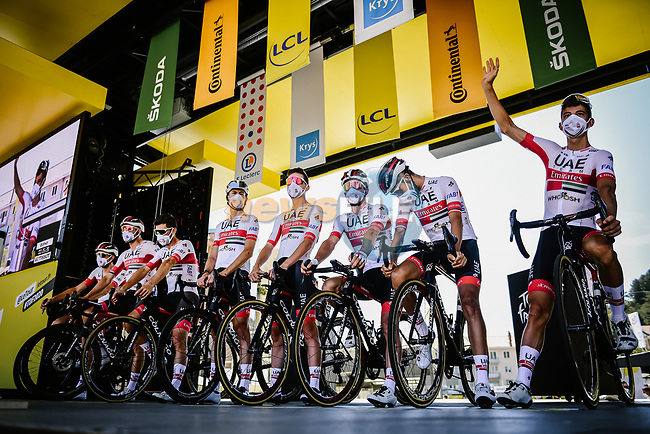 UAE Team Emirates at sign on before the start of Stage 4 of Tour de France 2020, running 160.5km from Sisteron to Orcieres-Merlette, France. 1st September 2020.<br /> Picture: ASO/Pauline Ballet | Cyclefile<br /> All photos usage must carry mandatory copyright credit (© Cyclefile | ASO/Pauline Ballet)
