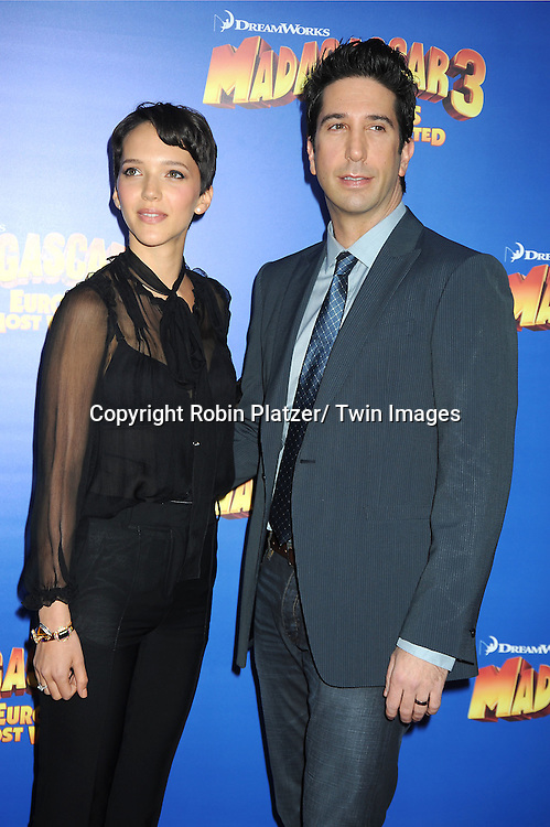 """David Schwimmer and wife Zoe Buckman attend the """"Madagascar 3:  Europe's Most Wanted""""  New York Premiere on June 7, 2012 at The Ziegfeld Theatre in New York City."""