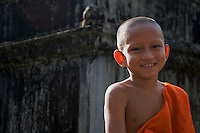 Novice Monk at the Monastery near Angkor Wat, Siem Reap Cambodia