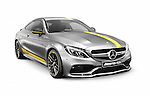 Silver 2016 Mercedes‑AMG C 63 S luxury sports car. Mercedes Benz AMG C-class isolated on white background with clipping path. Image © MaximImages, License at https://www.maximimages.com