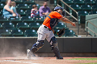 Buies Creek Astros catcher Christian Correa (8) makes a throw to second base against the Winston-Salem Dash at BB&T Ballpark on April 16, 2017 in Winston-Salem, North Carolina.  The Dash defeated the Astros 6-2.  (Brian Westerholt/Four Seam Images)