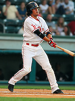 4 June 2007: Kristopher Negron of the Greenville Drive, Class A South Atlantic League affiliate of the Boston Red Sox, in a game against the Kannapolis Intimidators at West End Field in Greenville, S.C. Photo by:  Tom Priddy/Four Seam Images