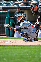 Jason Hagerty (23) of the El Paso Chihuahuas on defense against the Salt Lake Bees in Pacific Coast League action at Smith's Ballpark on April 24, 2016 in Salt Lake City, Utah. This was Game 1 of a double-header.  El Paso defeated Salt Lake 7-0. (Stephen Smith/Four Seam Images)