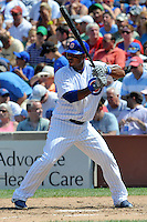 Chicago Cubs third baseman Luis Valbuena #24 awaits a pitch during a game against the Arizona Diamondbacks at Wrigley Field on July 15, 2012 in Chicago, Illinois. The Cubs defeated the Diamondbacks 3-1. (Tony Farlow/Four Seam Images).