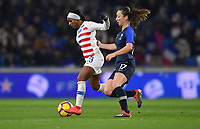 Le Havre, France - Saturday January 19, 2019: The women's national teams of the United States (USA) and France (FRA) play in an international friendly game at Stade Océane.