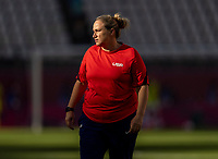 KASHIMA, JAPAN - AUGUST 5: Laura Harvey of the USWNT watches the team before a game between Australia and USWNT at Kashima Soccer Stadium on August 5, 2021 in Kashima, Japan.