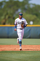 GCL Rays right fielder Diego Infante (17) jogs back to the dugout during a game against the GCL Twins on August 9, 2018 at Charlotte Sports Park in Port Charlotte, Florida.  GCL Twins defeated GCL Rays 5-2.  (Mike Janes/Four Seam Images)