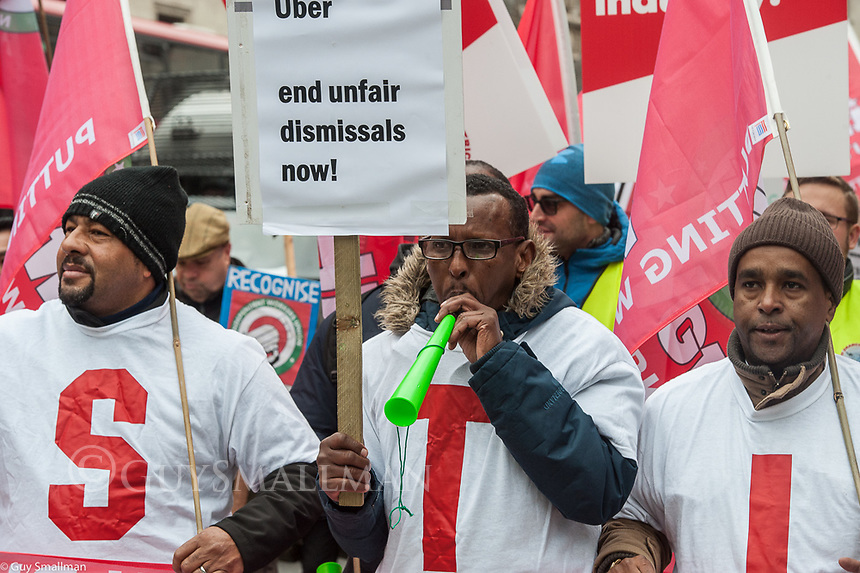 The IWGB Trade Union protest in London in support of their members doing precarious jobs in the 'gig economy' including Uber drivers cleaners and foster carers. 30-10-18