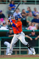 Midland RockHounds shortstop Darwin Perez (17) at bat during the Texas League baseball game against the San Antonio Missions on July 13, 2013 at Nelson Wolff Municipal Stadium in San Antonio, Texas. The Missions defeated the Rock Hounds 5-4. (Andrew Woolley/Four Seam Images)