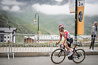 Caleb Ewan (AUS/Lotto-Soudal) 2 km from the finish in Val thorens<br /> <br /> shortened stage 20: Albertville to Val Thorens(59km in stead of the original 130km due to landslides/bad weather)<br /> 106th Tour de France 2019 (2.UWT)<br /> <br /> ©kramon