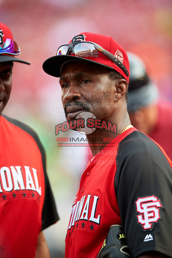 San Francisco Giants Shawon Dunston during MLB All-Star Game Practice on July 13, 2015 at Great American Ball Park in Cincinnati, Ohio.  (Mike Janes/Four Seam Images)