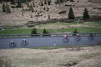 Maglia Rosa / overall leader Tom Dumoulin (NED/Sunweb) racing at the front of the peloton surounded by teammates<br /> <br /> Stage 17: Tirano › Canaze (219km)<br /> 100th Giro d'Italia 2017