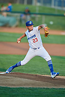 Ogden Raptors starting pitcher Orlandy Navarro (23) delivers a pitch during a game against the Billings Mustangs at Lindquist Field on August 18, 2018 in Ogden, Utah. Billings defeated Ogden 6-4. (Stephen Smith/Four Seam Images)