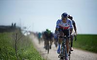 Zdenek Stybar (CZE/Etixx-QuickStep) over sector 26: Viesly à Quiévy (1.8km)<br /> <br /> 113th Paris-Roubaix 2015